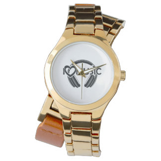 Relógio Eu amo fones de ouvido da música