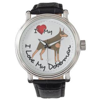 Relógio Eu amo meu cão do Doberman