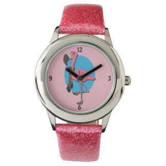 Relógio extravagante do brilho do rosa do flamingo