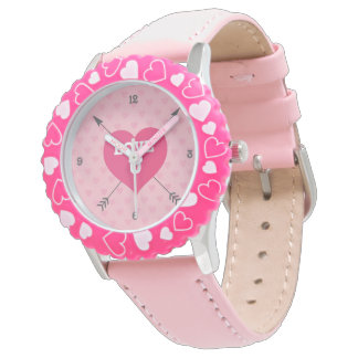 Relógio feito sob encomenda cor-de-rosa do amor U