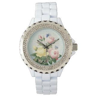 Relógio feminino e feminino do vintage floral dos