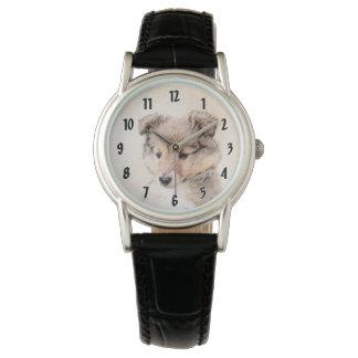 Relógio Filhote de cachorro do Sheepdog de Shetland