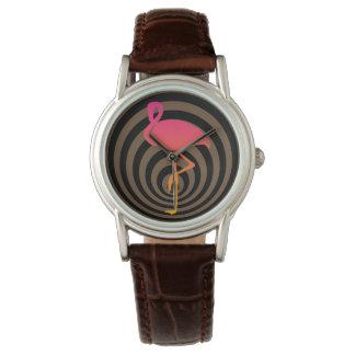 Relógio Flamingo bonito nos círculos