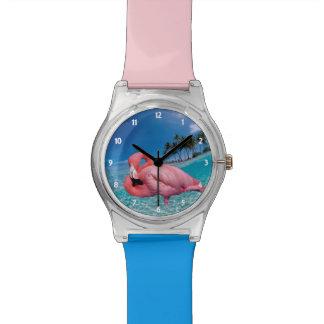 Relogio Flamingo e palmas