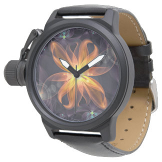 Relógio Flor alaranjada bonita do Fractal do lírio da