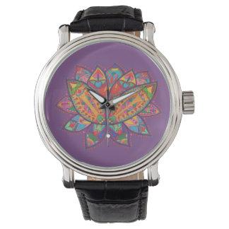 Relógio Flor de lótus colorida