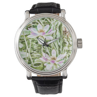 Relógio Flor de Lotus cor-de-rosa da flor