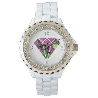 Relógio flor moderna elegante do lilac do diamante