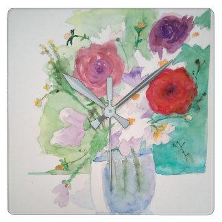 Relógio flor romântica aguarela