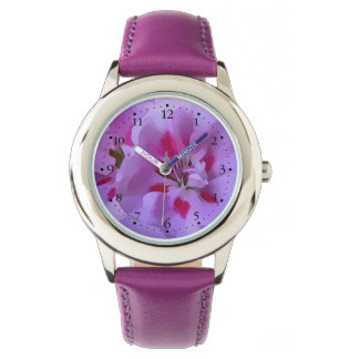 Relógio Flor violeta do hibiscus do abstrato do rosa