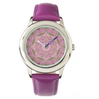 Relógio floral da mandala do vintage cor-de-rosa