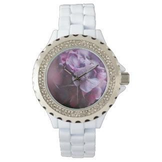 Relógio floral do cristal de rocha