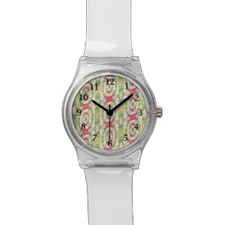 Relógio Floral vermelho verde branco distorcido do rosa da