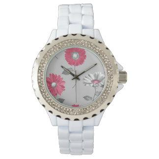 Relógio Flores cor-de-rosa