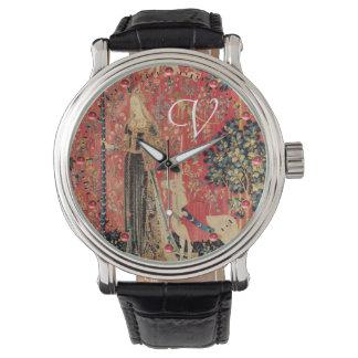 Relógio Flores da fantasia da SENHORA E do UNICÓRNIO,
