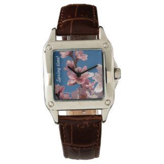 Relógio Flores de florescência do rosa da árvore de