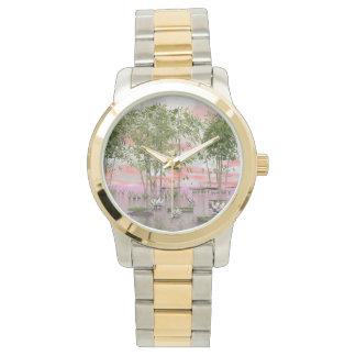 Relógio Flores e bambus de Lotus - 3D rendem