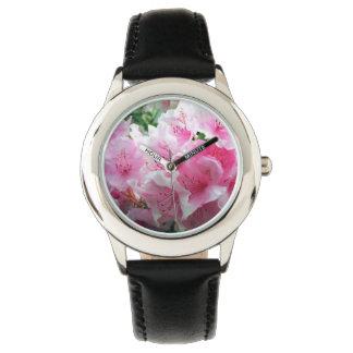 Relógio Flores florais cor-de-rosa de Falln