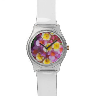 Relógio Flores tropicais cor-de-rosa e roxas amarelas