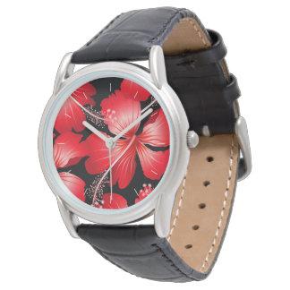 Relógio Flores vermelhas do hibiscus