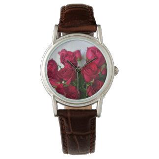 Relógio Forma Relógio-Julie Everhart das rosas vermelhas