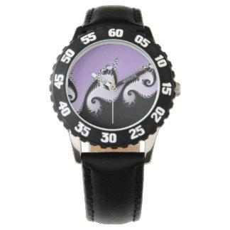 Relógio Fractal. violeta, branco e preto