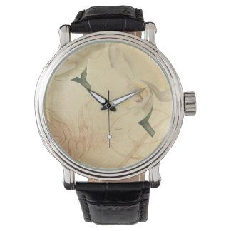 Relógio Fundo da orquídea do vintage