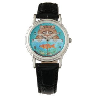 Relógio Gatinho de arreganho com fome engraçado da bacia