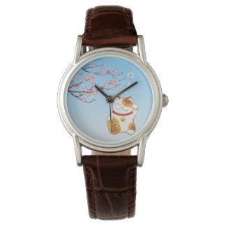 Relógio Gato afortunado japonês, chita Maneki Neko