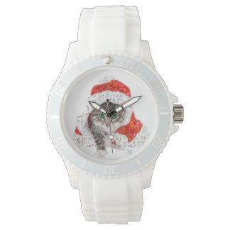 Relógio gato de Papai Noel - colagem do gato - gatinho -