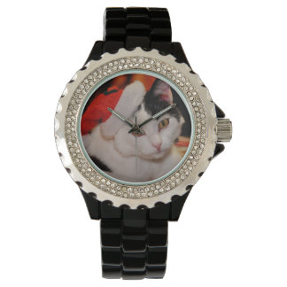 Relógio Gato de Papai Noel - Feliz Natal - gato do animal