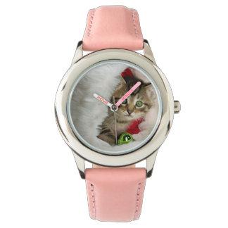 Relógio Gato do Natal - gato do gatinho - gatos bonitos