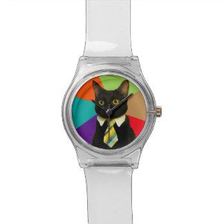 Relógio gato do negócio - gato preto