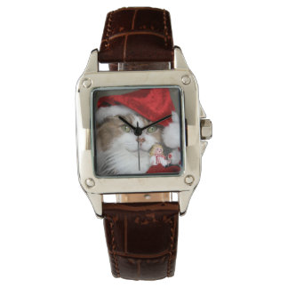 Relógio Gato do papai noel - gato do Natal - gatinhos