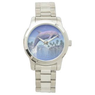 Relógio Golfinho nos trópicos - 3D rendem