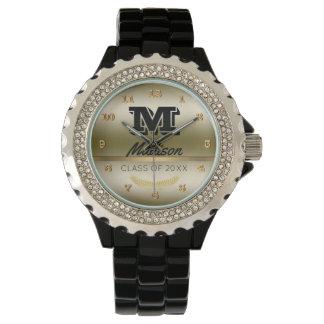 Relógio Graduação preta conhecida Monogrammed do ouro da
