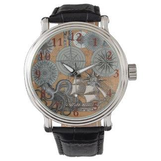 Relógio Gráfico náutico do impressão da arte da navigação
