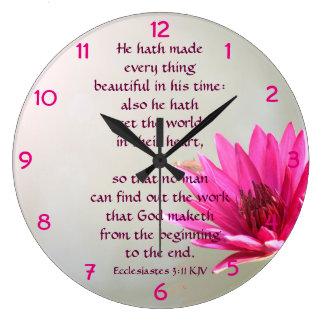 Relógio Grande 3:11 de Ecclesiastes tudo bonito em seu tempo