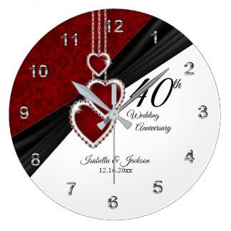 Relógio Grande 40th Lembrança do aniversário de casamento do rubi