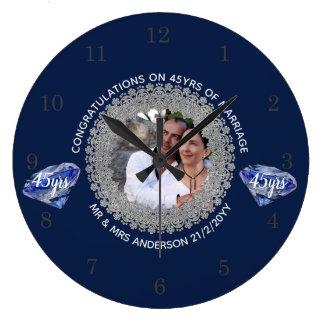 Relógio Grande 45th Aniversário de casamento - ADICIONE o azul da