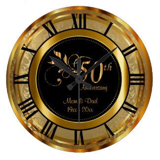 Relógio Grande 50th aniversário dourado elegante