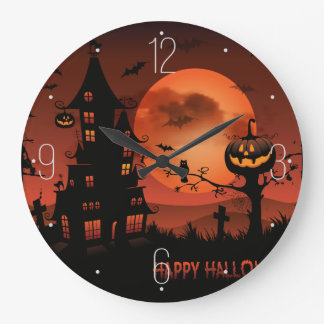 Relógio Grande A abóbora das cenas do cemitério do Dia das Bruxas