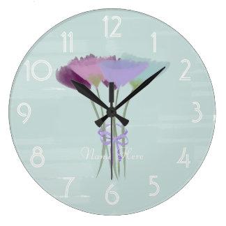 Relógio Grande A aguarela bonito da peônia da aguarela adiciona o