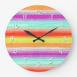 Relógio Grande A aguarela moderna colorida brilhante listra o