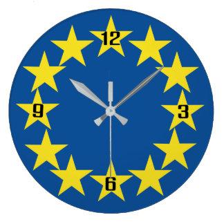 Relógio Grande A bandeira européia de Europa Stars o euro da