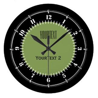 Relógio Grande A cor sólida do fundo do verde de musgo