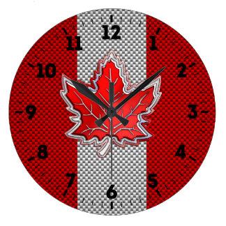 Relógio Grande A folha de bordo vermelha canadense na fibra do