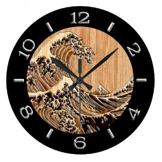 Relógio Grande A grande onda de Hokusai no seletor de bambu do