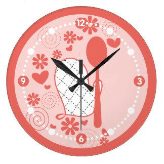 Relógio Grande A luva feminino do forno da cor feita sob