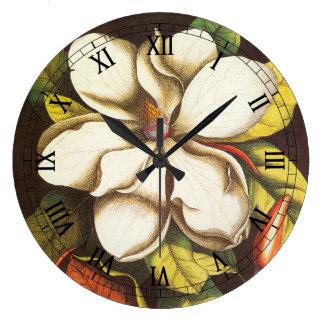 Relógio Grande A magnólia do vintage floresce a planta com